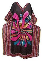 Mogul Interior Womens Maxi Caftan Dresses Black Print Resortwear Boho Kaftan Cover Up