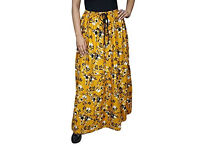 Ladies Tiered Skirt Chastity Yellow Floal Printed Bohemian Skirt