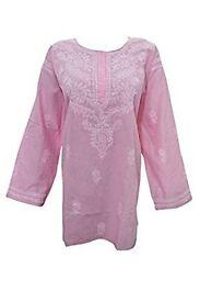 Mogul Interior Womens Elegant Stylish Tunic top Lucknowi Hand Embroidered Tunic Pink Kurti