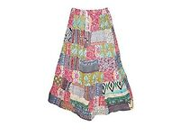 Mogul Interior Womens Hippie Maxi Patchwork Skirt Colorful With Waistband Large