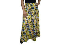Ladies Tiered Skirt Karly Yellow Floal Printed Boho Skirts M-XL