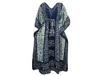 Mogul Interior Ladies Kaftan BlueElephant Boho Maxi House Dress One Size