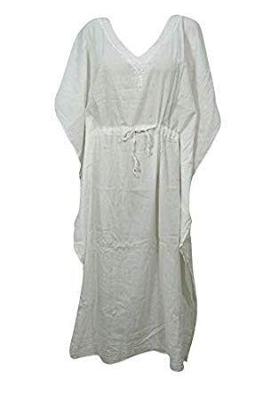 e588c5e686 Women Caftan Dress White Drawstring Embroidered Cover Up Kaftan One Size