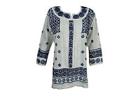 Woman's Tunic White Kurti Chikan Embroidered Gypsy Chic Top Blouse Shirt