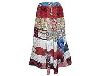 Mogul Interior Women's Long Skirt Patchwork Stylish Floral Printed Rayon Bohemian Gypsy Colorful L