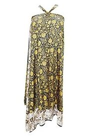 Mogul Interior Women's Bohemian Wraps Dress Green Floral Printed Two Layer Sari Skirt One Size