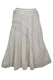 Mogul Interior Womens Boho Skirt Beige Embroidered Rayon A-line Festival Long Skirt