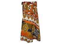 Mogul Interior Bohemian Wrap Skirt Red Floral Two Layer Reversible Silk Sari Sarong Dress