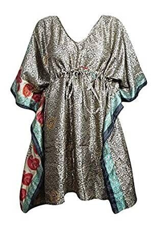 Women Grey Kaftan Dress Printed Recycle Sari Boho Short Caftan , used for sale  Barnet, North London