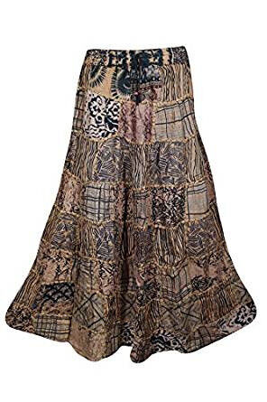 Boho Chic Womens Maxi Skirt Vintage Hippy Patchwork Bohemian Skirts