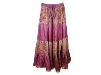 Womens Maxi Skirts Vintage Sari Full Flare Bohemian Gypsy Skirt