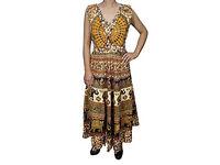Womens Jungle Love Printed Long Dress Handmade Block Print Sleeveless Beach Sundress