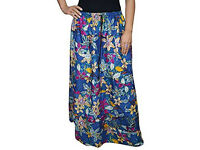 Women Floral Flower Printed A-Line Ladies Elasticated Waist Maxi Skirts