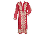 Womens Indian Long Tunic Pink with Beige Floral