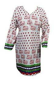 Mogul Interior Womens Animal Printed Kurta Tunic Summer Dress