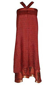 Womens Vintage Sari Wrap Skirt Two Layer Silk Reversible Beach Dress