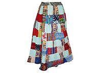 Mogul Interior Womens Maxi Skirt Patchwork Retro Vintage Chic Large