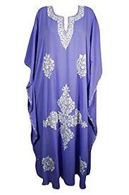 Womans Long Kaftan Crepe Floral Embroidered Caftan Maxi Dresses
