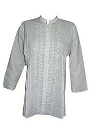 Mogul Interior Womens Shirt Blouse Cotton Kurti White Hand Embroidered Hippie Tunic Top