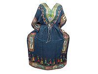 Mogul Interior Maxi Caftans Blue Tribal Printed African Beach Boho Evening Wear Kaftan Cover UP XXXL