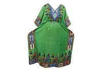 Caftan Evening Wear Green Dashiki Tribal Print Bohemian Maxi Kaftan Dress XXL