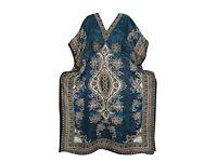 Mogul Interior Women's Dashiki V-Neck Moroccan Dress Blue Bohemian Hippie Plus Size