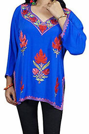 Boho Chic Womans Silk Embroidered Tunic Zinnia Floral Bohemian Kurti Blouse