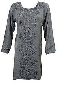 Womens Blouse Grey Hand Embroidered Stonewashed Bohemian Tunic Top