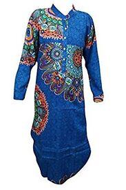 Mogul Interior Tunic Dress Mandarian Collar Blue Printed Indian Boho Kaftan Dresses