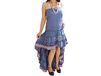 Womens Hi Low Dress Recycled Silk Printed Party Evening Strapless Swirling Dresses