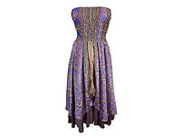 Ladies 2 In 1 Skirt Dress Strapless Purple Printed Vintage Sari Two Layer Small/Medium (Blue-1)