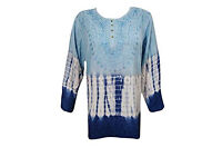 Ladies Blouse Blue Tie-dye Embroidered Rayon Tunic Top Large