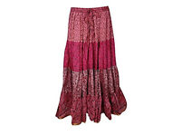 Womens Skirt Bohemian Long Swing Skirts Belly Dance Recycled Silk Sari