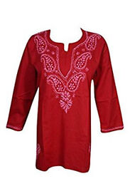 Woman's Indian Tunic Cotton Floral Embroidered