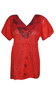 Womens Tunic Top Sexy Hot Red Neck Embroidered Beach Cover up Blouse