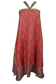 Mogul Interior Magic Wrap Skirt Red Printed Silk Sari Reversible Cover Up Cruise Dress