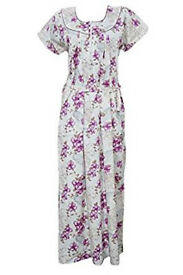 Womens Maxi Dress Caftan White Floral Printed Cotton Boho Hippie Kaftan M