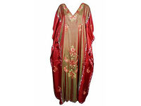 Boho Chic Womans Caftan Kashmiri Embroidered Bohemian Cruise Kaftan Maxi Dress