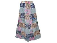Mogul Interior Womens Maxi Skirt Vintage Patchwork Stylish Rayon Boho Long Gypsy Large