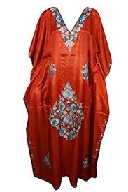 Womens Kaftan Orange Kashmiri Embroidered Caftan