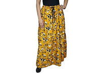 Ladies Tiered Skirt Chastity Yellow Floal Printed Bohemian Skirts M-XL