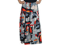 Ladies Beatrice Elasticated Waist Skirt Grey Printed Maxi Skirts SM