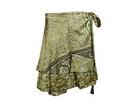 Womens Reversible Green Printed Two Layer Silk Magic Wrap Skirt