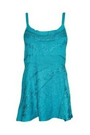 Mogul Interior Tunic Top Strappy Blouse Light Blue Casual Wear College Boho Scoopneck S