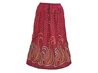 Mogul Interior Womens Long Skirt Polka Flowers Print Rayon Boho Flirty Retro Skirts