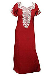 Womens House Dress Kaftan Neck Embroidered Red Maxi Caftan Nightgown