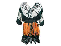Womens Boho Blouse Tie Dye Embroidered Tunic Top