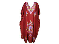 Womens Kaftan Maroon Embroidered House Dress
