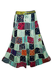 Womens Maxi Skirt Vintage Hippy Patchwork Bohemian Skirts