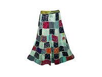 Womens Maxi Skirt Vintage Hippy Patchwork Bohemian Skirts